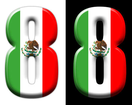 Number eight with the Mexican flag