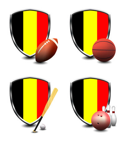 Belgium Flag with sporting articles