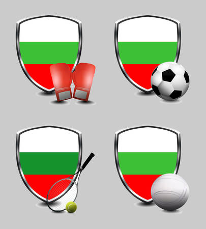Bulgaria Flag with sporting articles Stock Photo