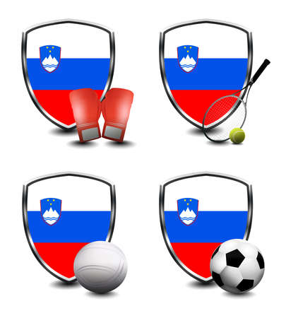 Slovenia Flag with sporting articles