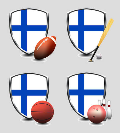 Finland flag with sporting articles