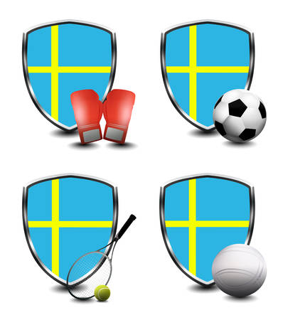Sweden flag with sporting articles