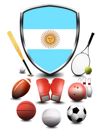 Argentina Flag with sporting articles Stok Fotoğraf