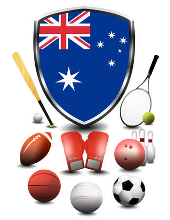Australia Flag with sporting articles