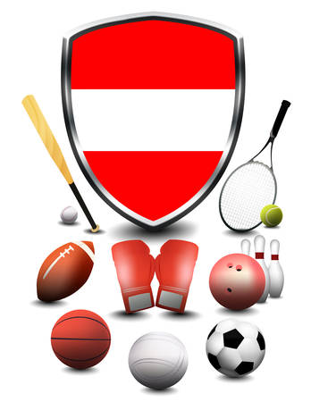 Austria Flag with sporting articles