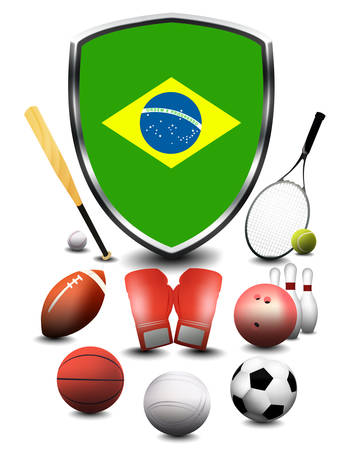 Brazil Flag with sporting articles Stok Fotoğraf