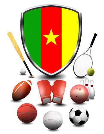 Cameroon Flag with sporting articles Stockfoto