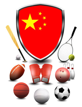 China Flag with sporting articles Stok Fotoğraf