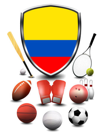 Colombia Flag with sporting articles
