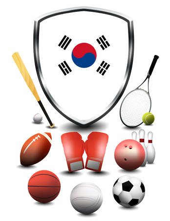 South Korea Flag with sporting articles