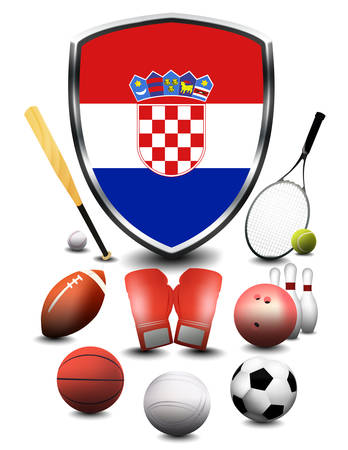 Croatia Flag with sporting articles Stok Fotoğraf