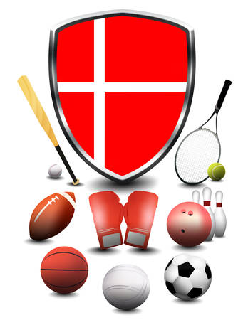 Denmark Flag with sporting articles