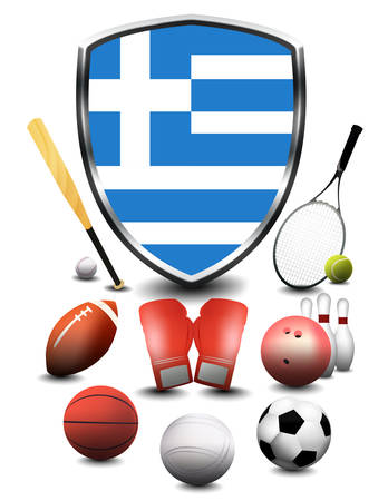 Greece flag with sporting articles