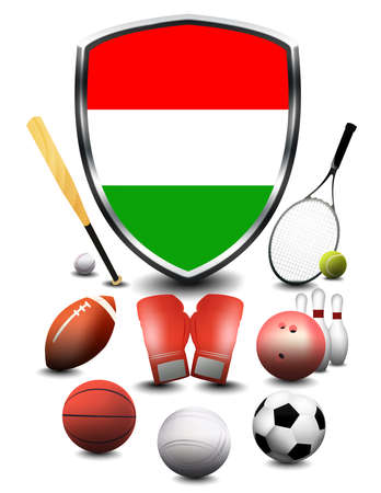 Hungary flag with sporting articles