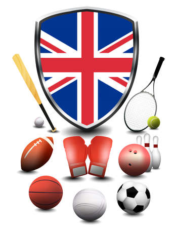 England flag with sporting articles