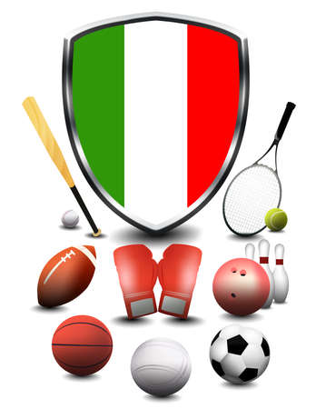 Italy flag with sporting articles
