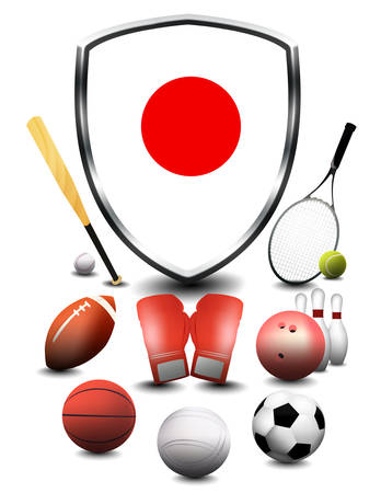 Japan flag with sporting articles Stok Fotoğraf