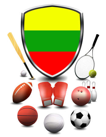 Lithuania flag with sporting articles