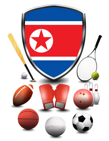 North Korea flag with sporting articles Stock Photo