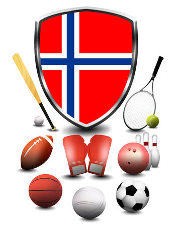 Norway flag with sporting articles