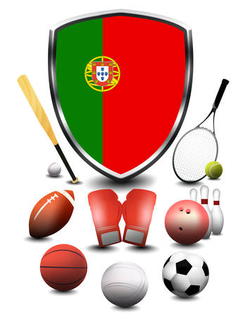 Portugal flag with sporting articles