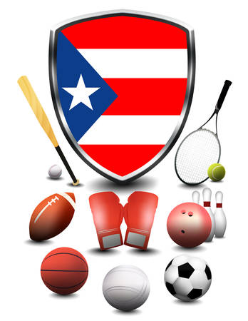 Puerto Rico flag with sporting articles Stok Fotoğraf