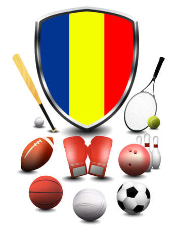 Romania flag with sporting articles