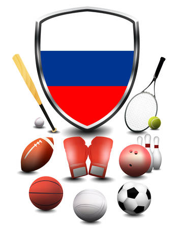 Russia flag with sporting articles Stok Fotoğraf