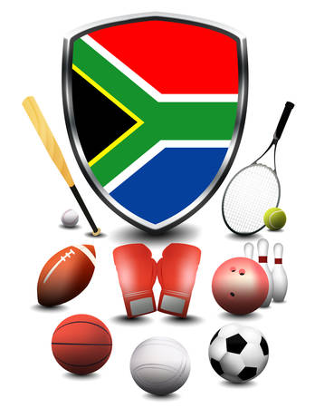 South Africa flag with sporting articles Stok Fotoğraf
