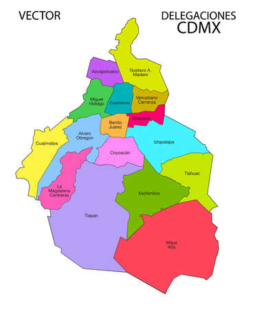 Mexico City map. Delegations. Çizim