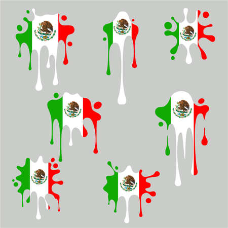 Blots and splashes icons from the national Flag of Mexico. Stock Illustratie