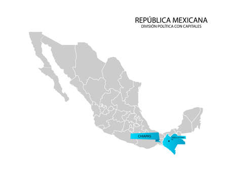 Mexico map, State of Chiapas Illustration