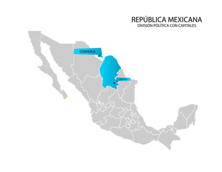 Mexico map, State of Coahuila Ilustracja