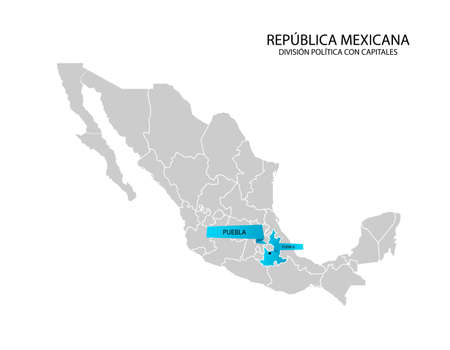 Mexico map, State of Puebla