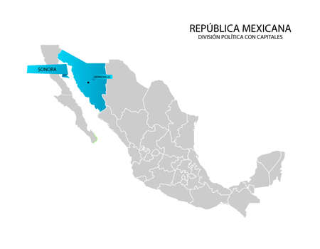 Mexico map, State of Sonora