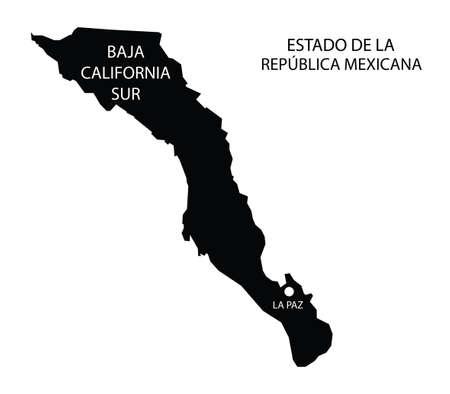 Estado de Baja California Sur, México, mapa vectorial
