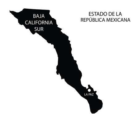 State Baja California Sur, Mexico, vector map