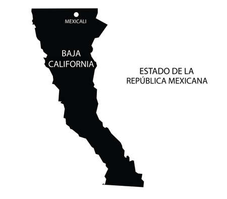 Estado de Baja California, México, mapa vectorial