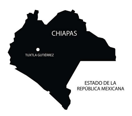 State Chiapas, Mexico, vector map