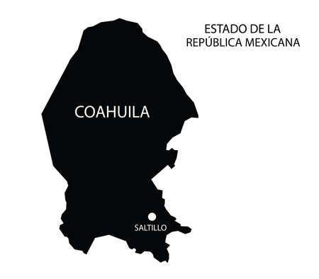 State Coahuila, Mexico, vector map