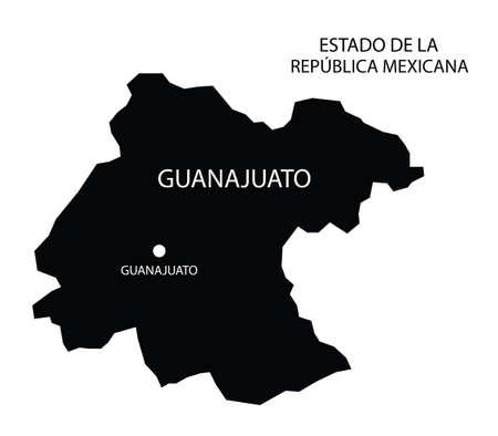 State Guanajuato, Mexico, vector map
