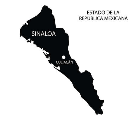 State Sinaloa, Mexico, vector map