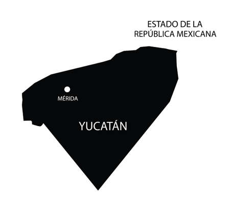 State Yucatan, Mexico, vector map