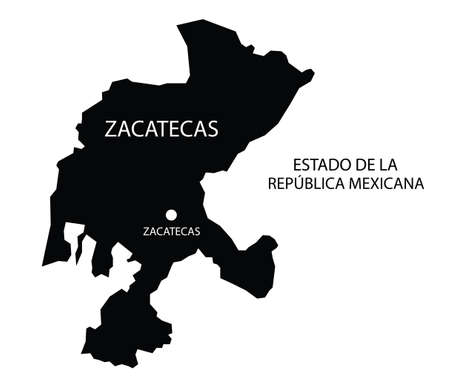State Zacatecas, Mexico, vector map