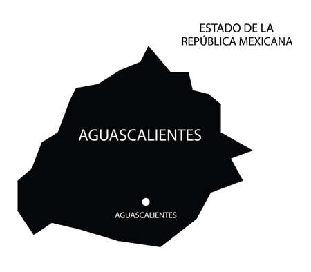 State Aguascalientes, Mexico, vector map