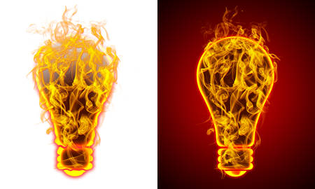 Light lamp on fire, red and white background