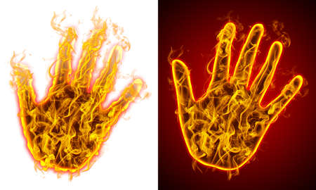 Left hands on fire, red and white background