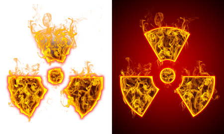 Symbol of radiation on fire, red and white background