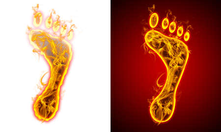 Foot on fire, red and white background
