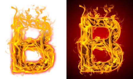 letter B on fire 版權商用圖片